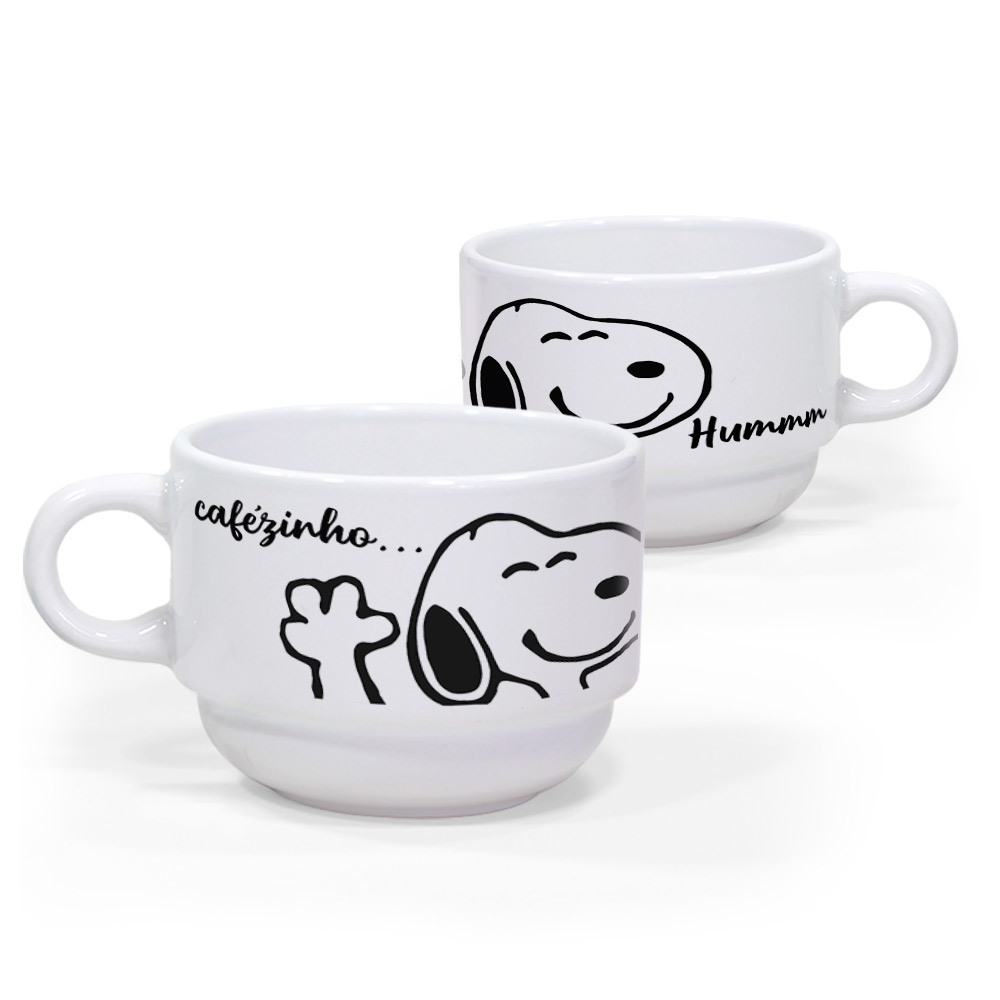 Kit 2 Xícaras Snoopy Bom dia e Cafezinho com suporte