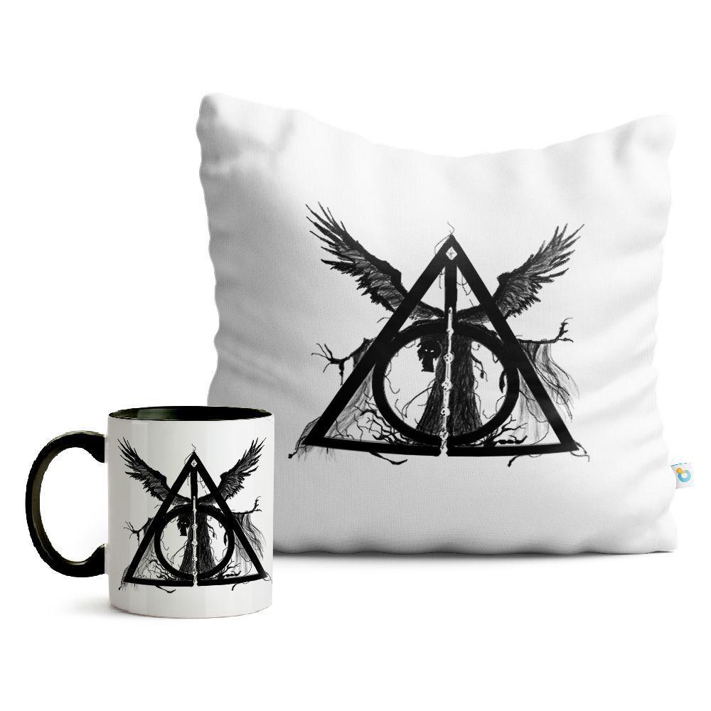 Kit Harry Potter Caneca e Almofada Brasão Relíquias da Morte