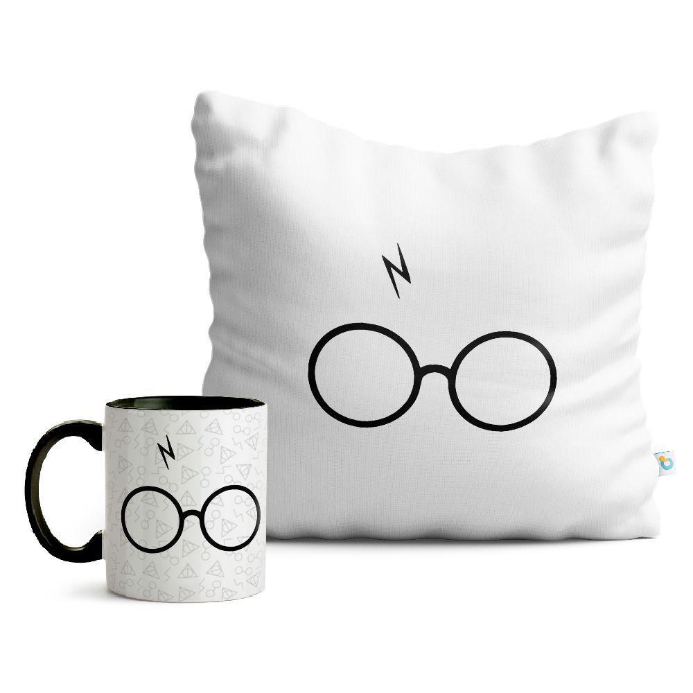 Kit Harry Potter Caneca e Almofada Óculos