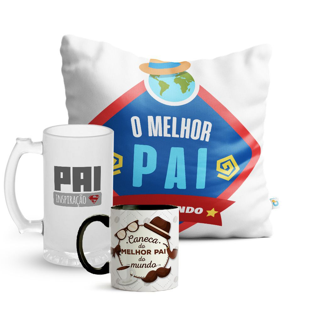 Kit Dia dos Pais Almofada Caneca E Copo Chopp 03