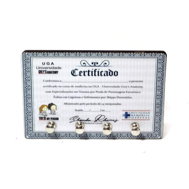 Porta Chaves Greys Anatomy Certificado de Medicina