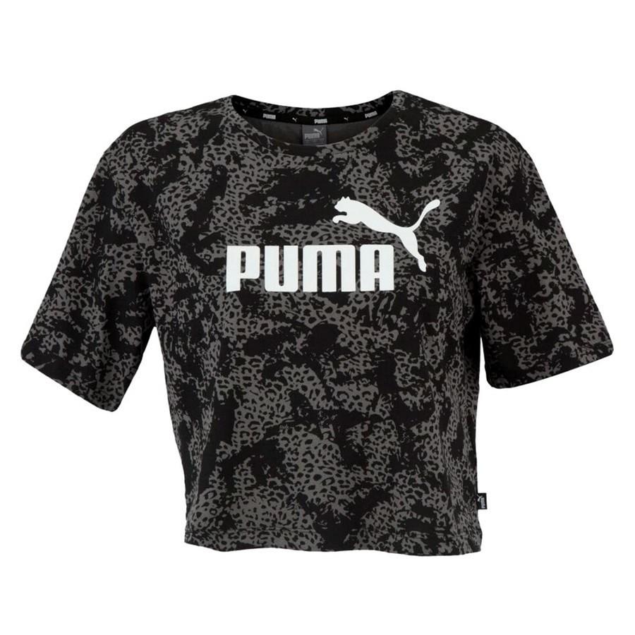 Blusa Cropped Puma Elevated ESS AOP Feminino Preto
