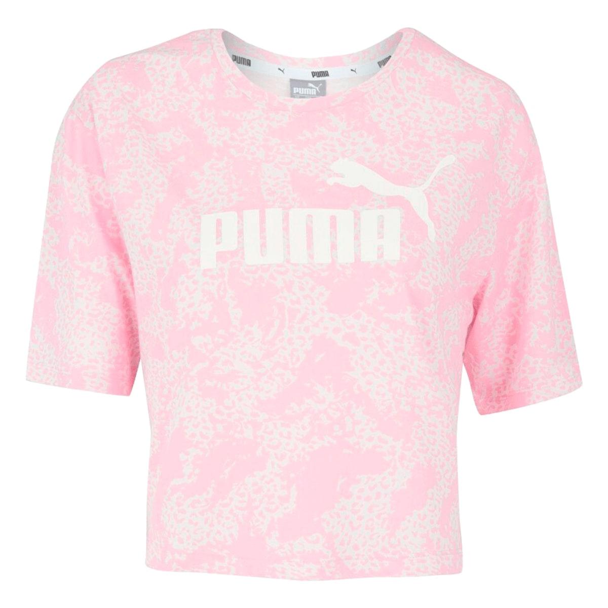 Blusa Cropped Puma Elevated ESS AOP Feminino Rosa
