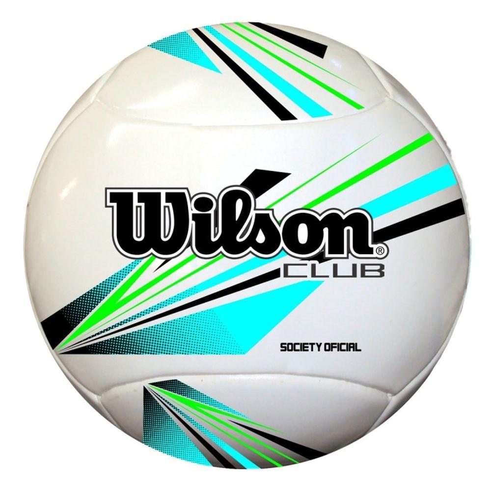 Bola Futebol Society Wilson Club Branco Azul Preto