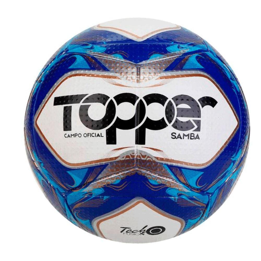 Bola Topper Campo Samba TD2 Branco Azul Prata