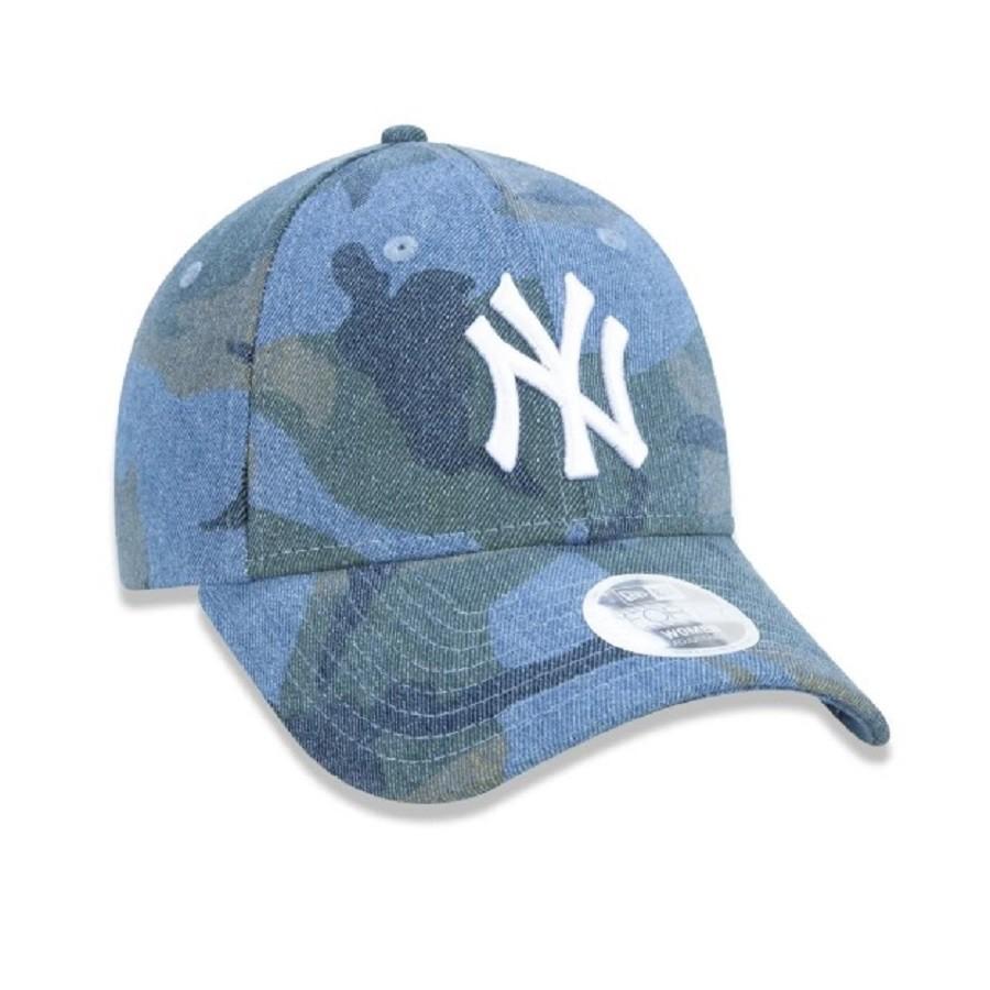 Boné 9Forty MLB New York Yankees Denim Feminino Camuflado Azul New Era