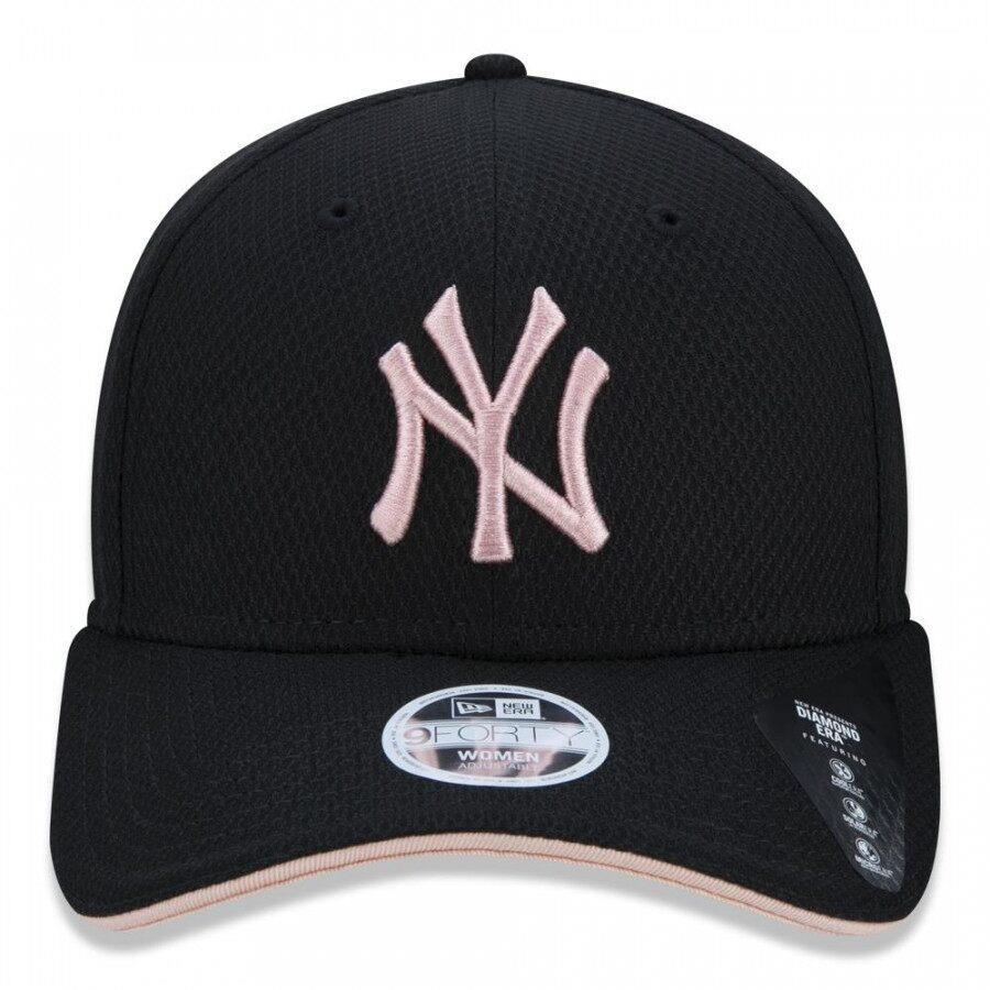 Boné 9Forty MLB New York Yankees Diamond Feminino Preto Rosa New Era