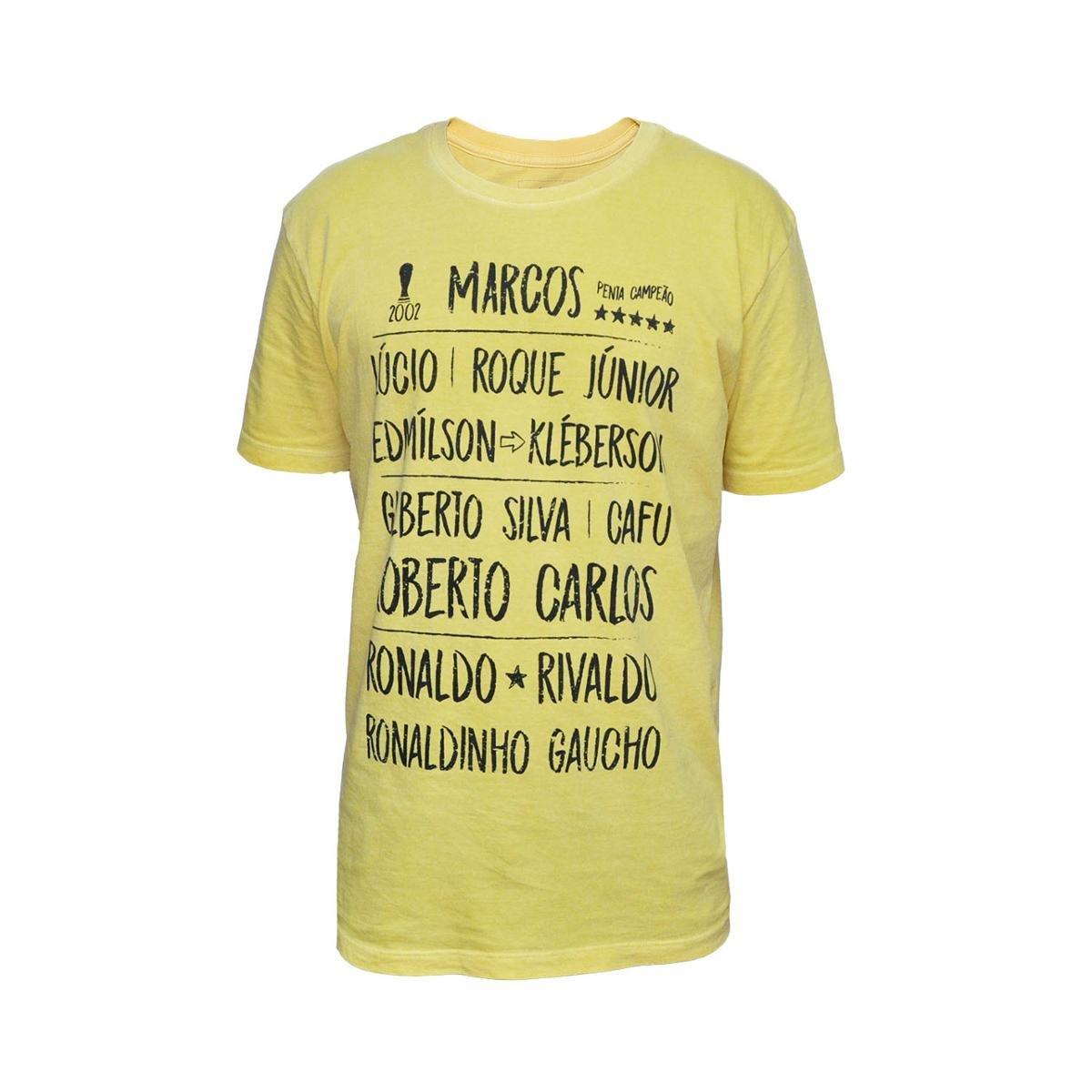 Camisa Brasil 2002 Retrô Mania Masculina Amarela