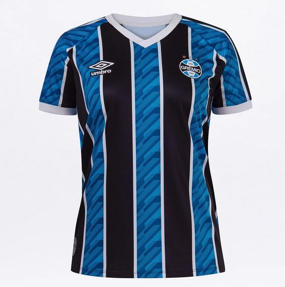 Camisa Grêmio Umbro  Of. 1 2020 Torcedora Tricolor Feminina