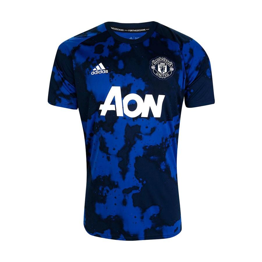 Camisa Manchester United Adidas Pré Jogo 19 20 Azul