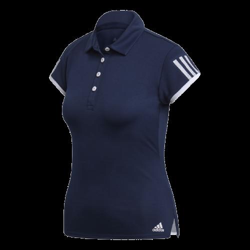 Camisa Polo Adidas Club 3 Stripes Feminino Azul