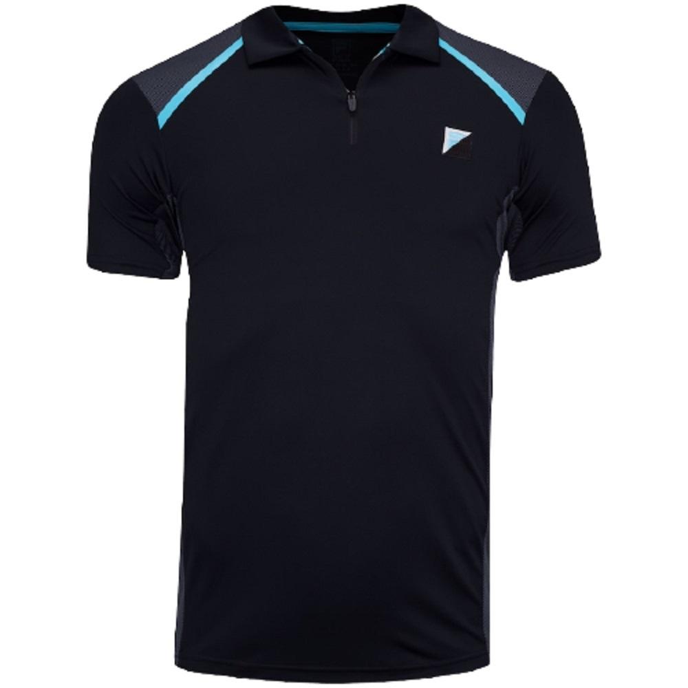 Camisa Polo Fila Fusion Plaid Masculino Preto Cinza