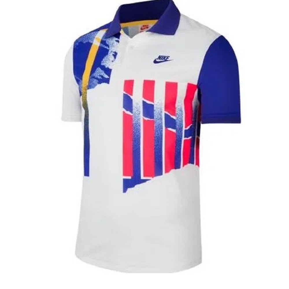 Camisa Polo Nike Court Advantage Masculino Branco Azul