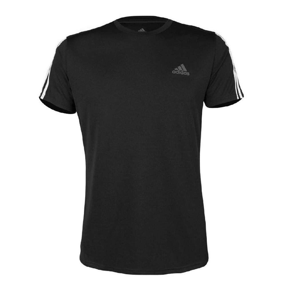 Camiseta Adidas Run 3 Stripe Masculina Preto