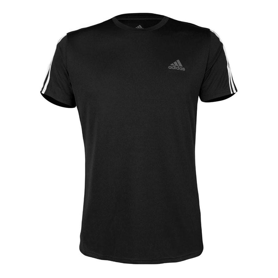 Camiseta Adidas Run 3 Stripe Masculino Preto
