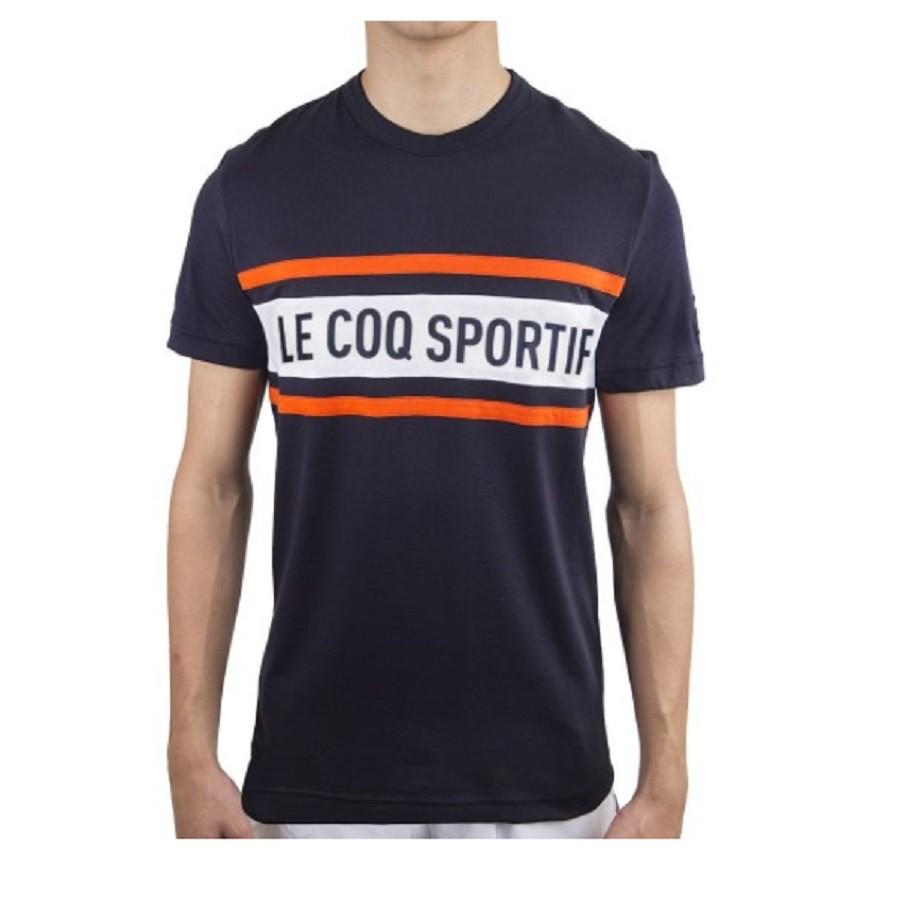 Camiseta Le Coq Sportif Ess Saison Tee SS N°2 Marinho Laranja