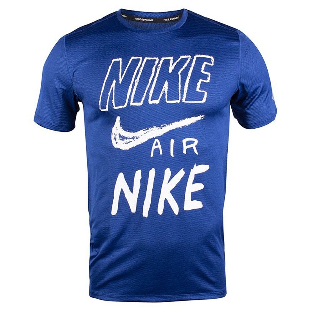 Camiseta Nike DRI-FIT Breathe Run Masculina - Azul e Branco