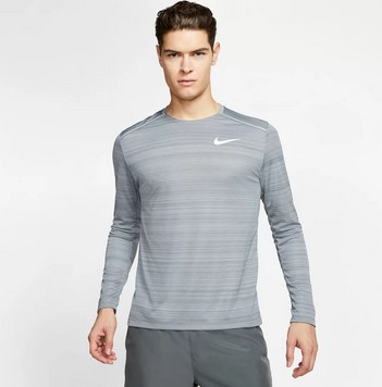 Camiseta Nike Manga Longa Dri-Fit Miler Masculina Cinza
