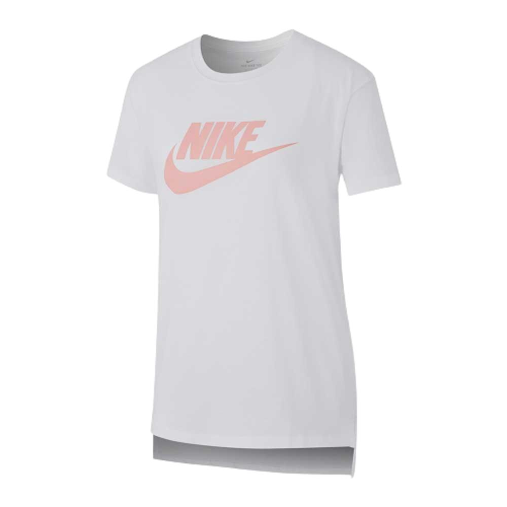 Camiseta Nike Tee Basic Infantil  Branco Rosa
