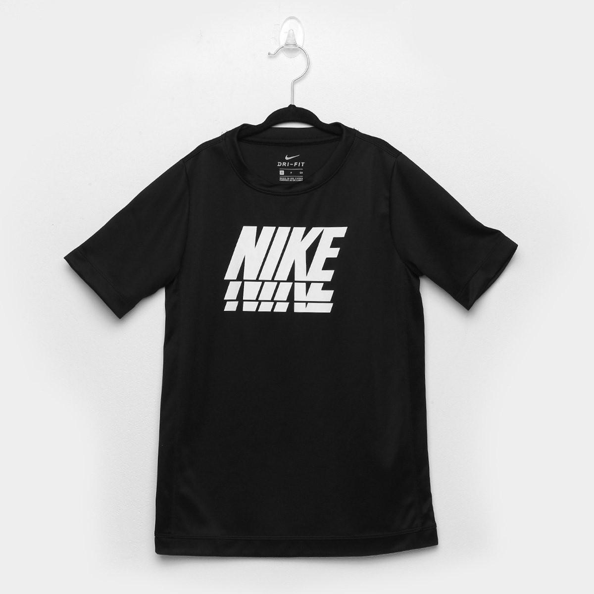 Camiseta Nike Trophy Masculina Infantil - Preto e Branco