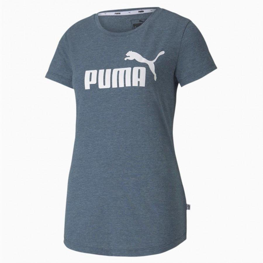 Camiseta Puma Essentials Heather Tee Feminino Azul Mescla
