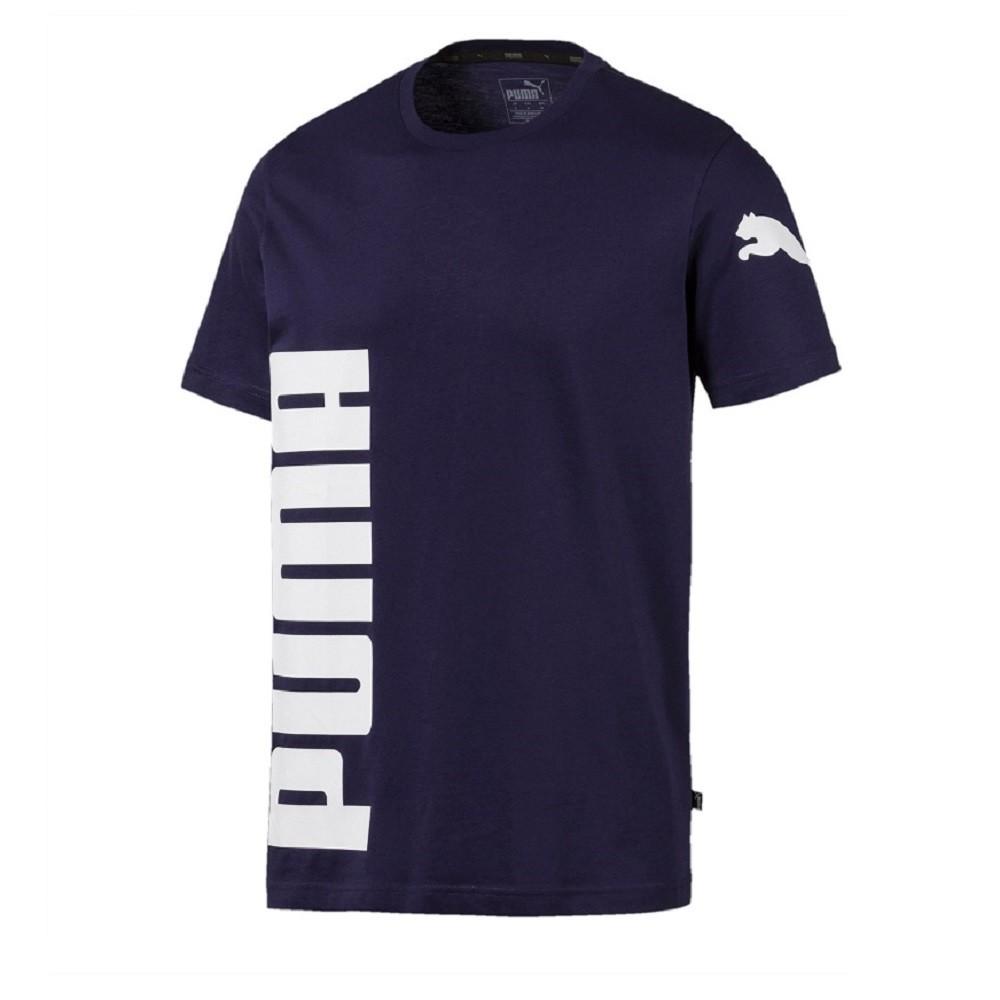 Camiseta Puma Logo Masculina Azul Marinho