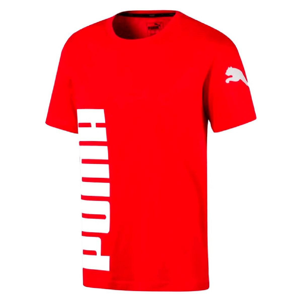 Camiseta Puma Logo Masculina Vermelho