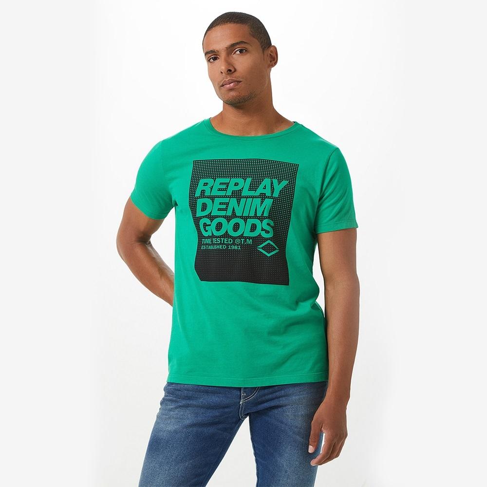 Camiseta Replay Denim Goods Masculino Verde Escuro