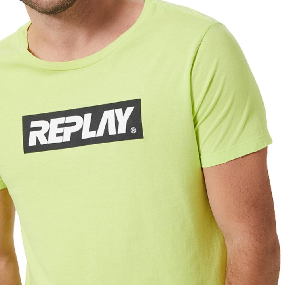 Camiseta Replay Fluorescente Masculino Verde Preto