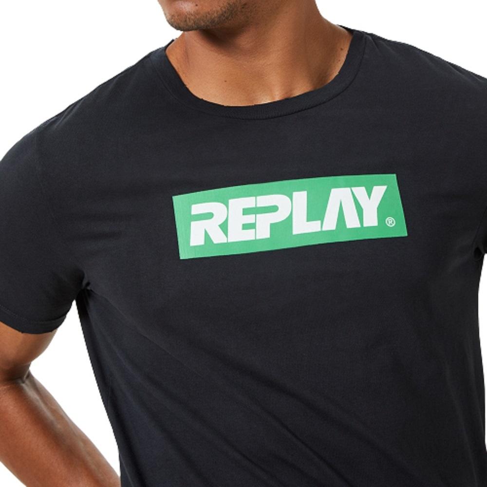 Camiseta Replay Institucional Masculino Preto Verde