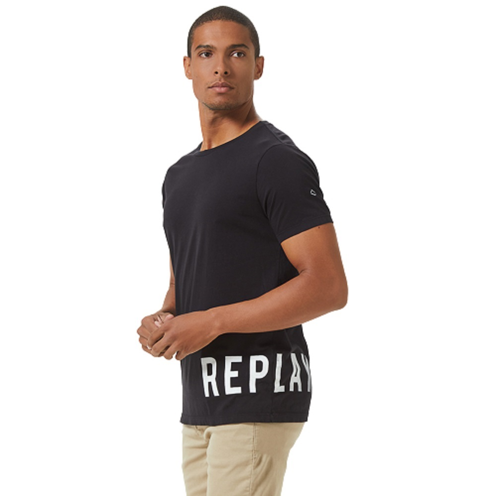 Camiseta Replay Logo Básica Masculino Preto