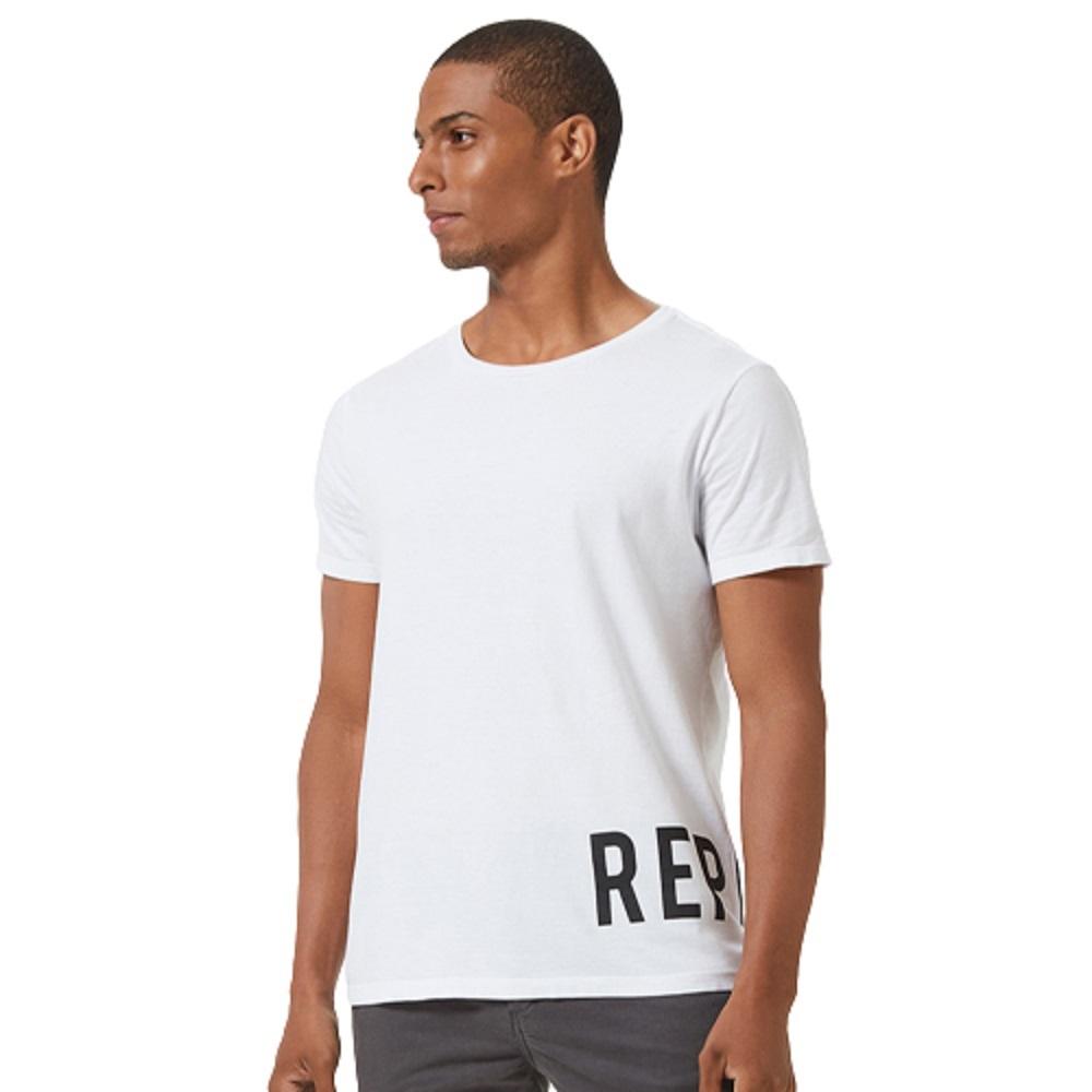 Camiseta Replay Logo Lateral Masculino Branco