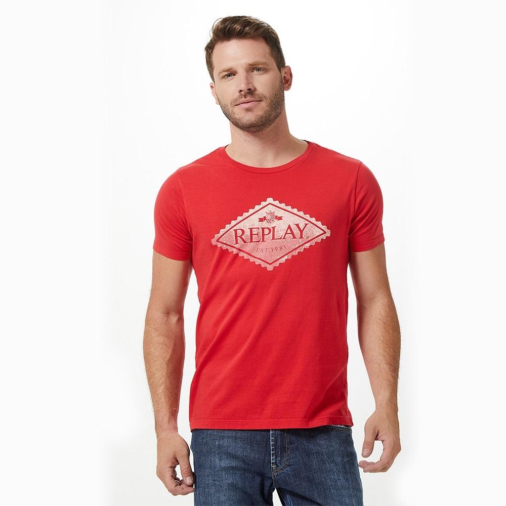 Camiseta Replay Losango Masculino Vermelho