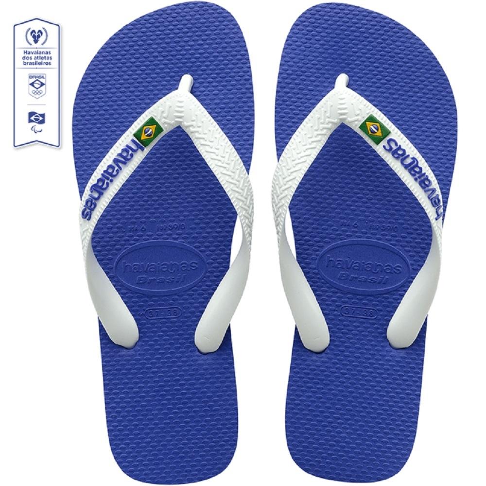 Chinelo Havaianas Brasil Logo Azul Branco