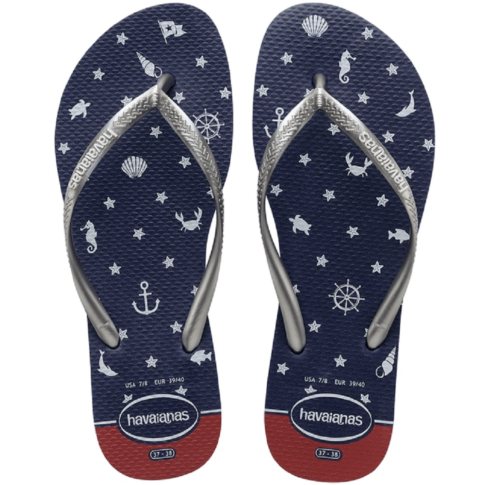 Chinelo Havaianas Slim Nautical Feminino Marinho