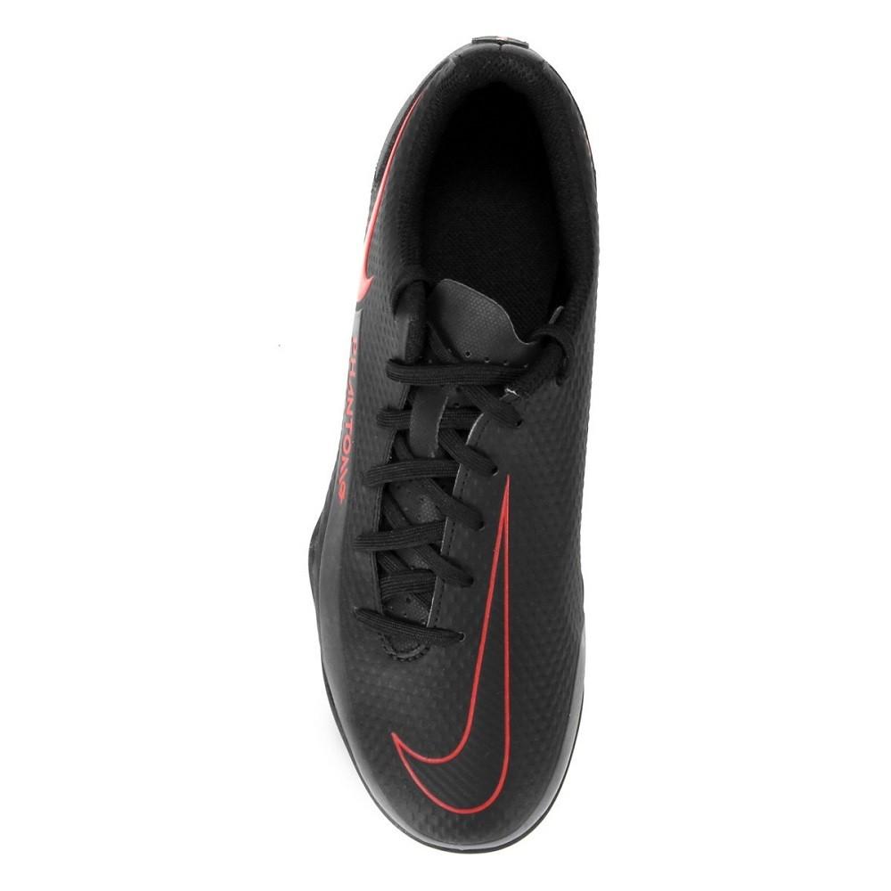 Chuteira Campo Nike Phantom Club Masculino Preto Vermelho