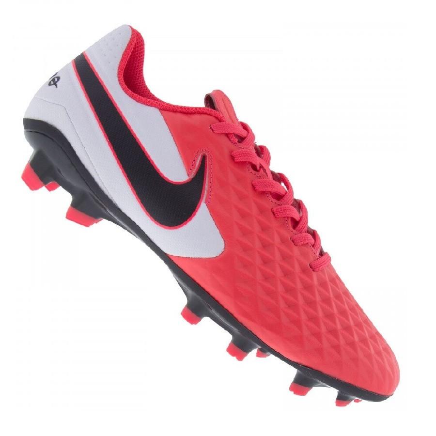 Chuteira Campo Nike Tiempo Legend 8 Academy FG Masculina Vermelha Branca