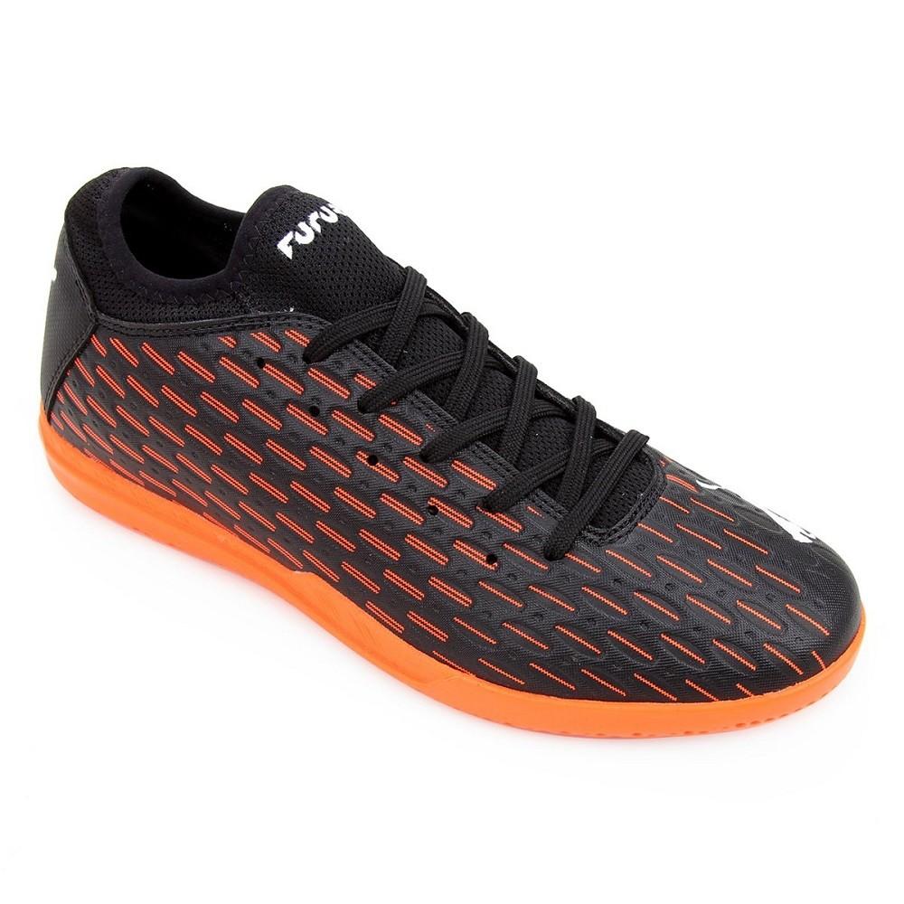 Chuteira Futsal Puma Future 6.4 Preto Laranja