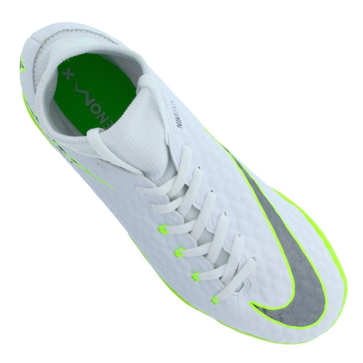 Chuteira Nike Futsal Hypervenom Phantom Branco Verde