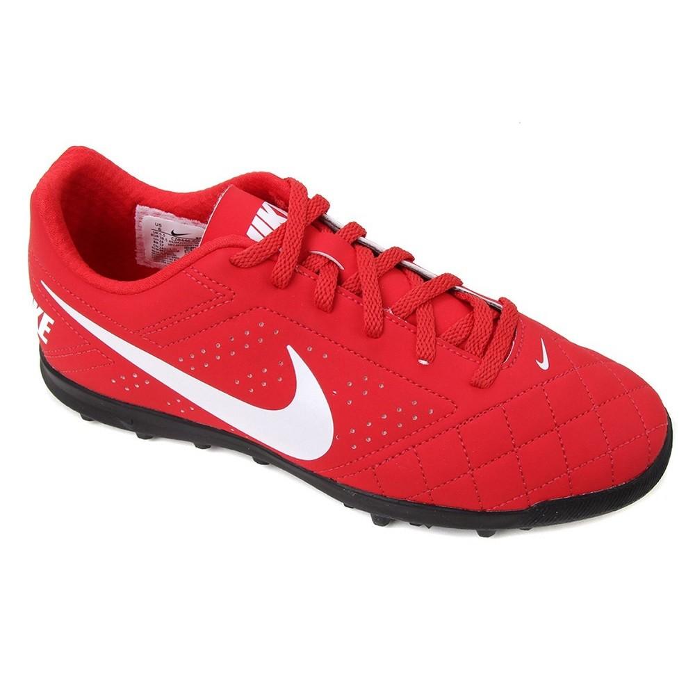 Chuteira Society Nike Beco 2 TF Masculino Vermelho Branco
