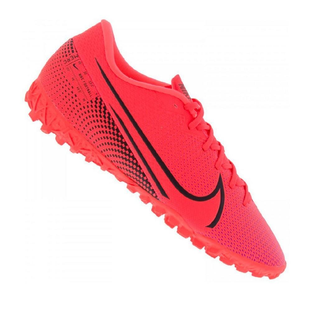 Chuteira Society Nike Mercurial Vapor 13 Academy TF Vermelho e Preto
