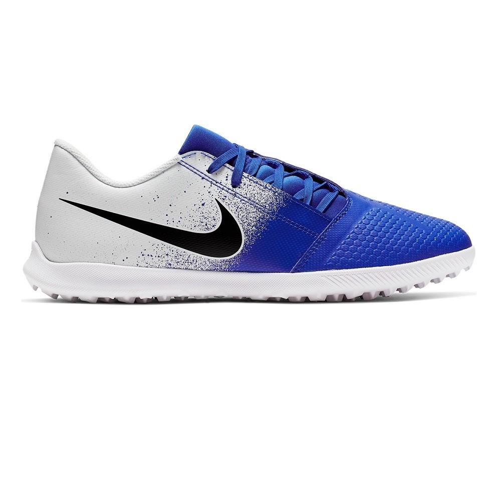 Chuteira Society Nike Phantom Venom Club TF - Branco e Azul
