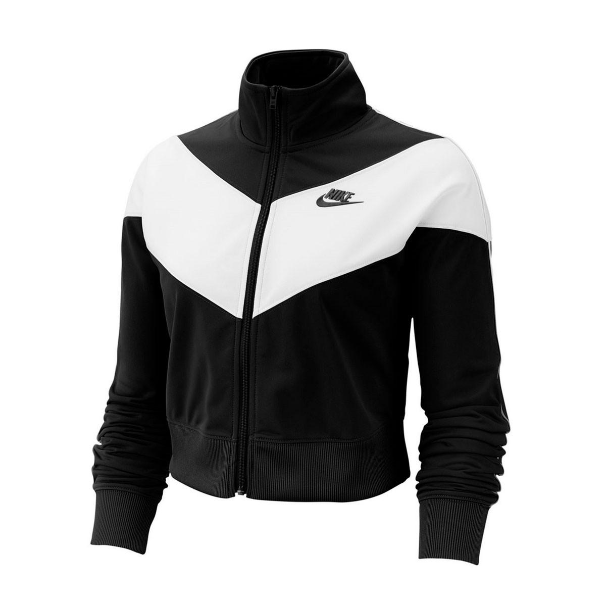 Jaqueta Nike Heritage Track Feminino Preto Branco