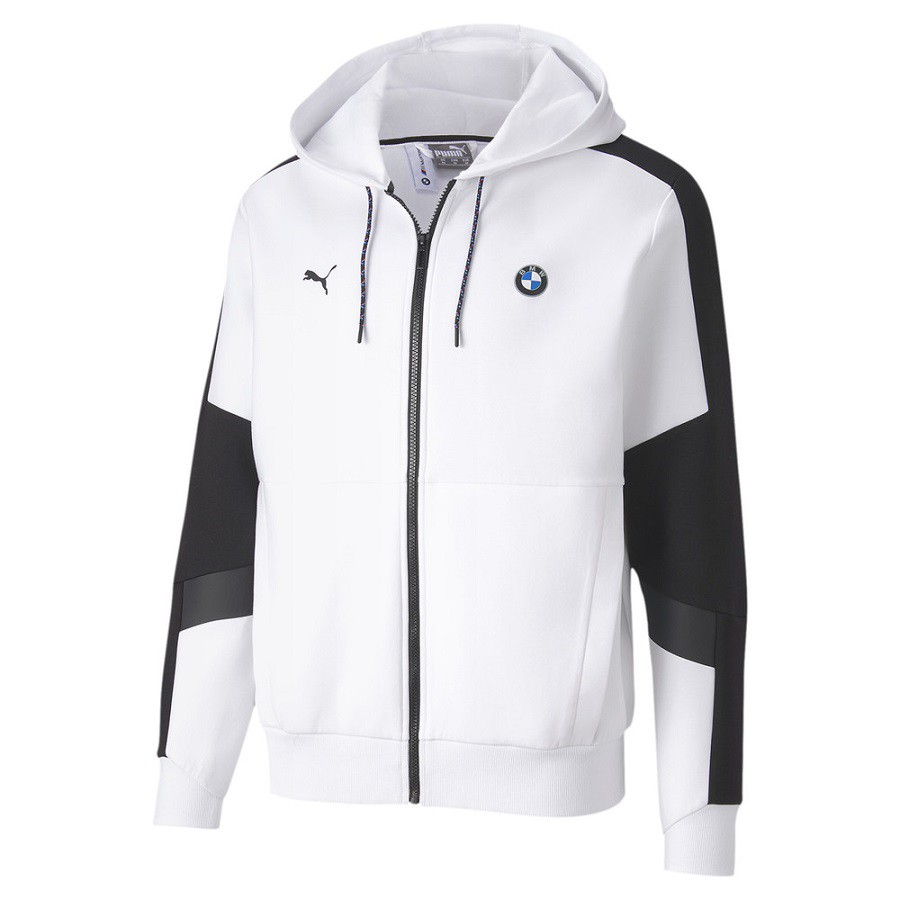 Jaqueta Puma BMW Hooded Sweat Masculina Branco Preto