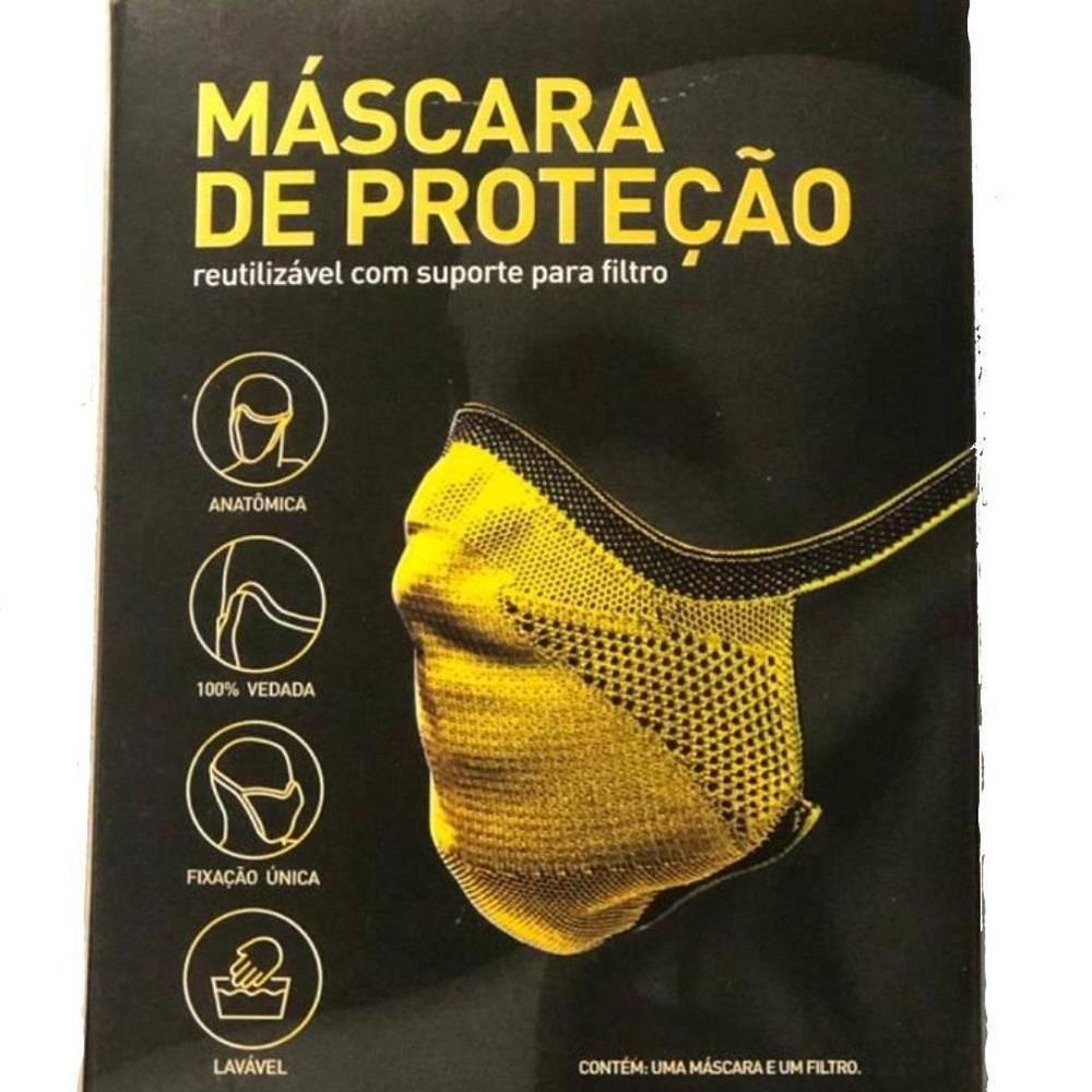 Máscara de Proteção Esportiva Fiber Knit Reutilizável E96 Preta