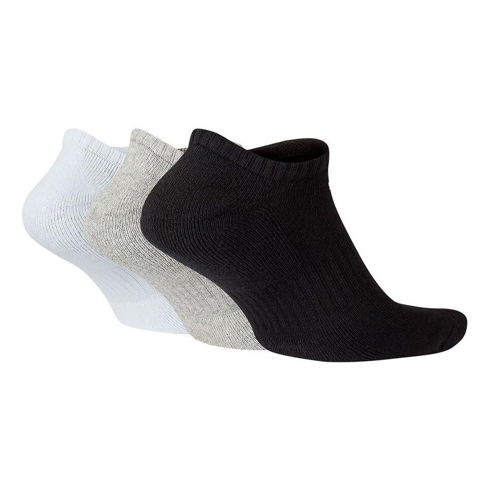 Meia Nike Sem Cano Everyday Cushion 3 Pack Branco Cinza Preto