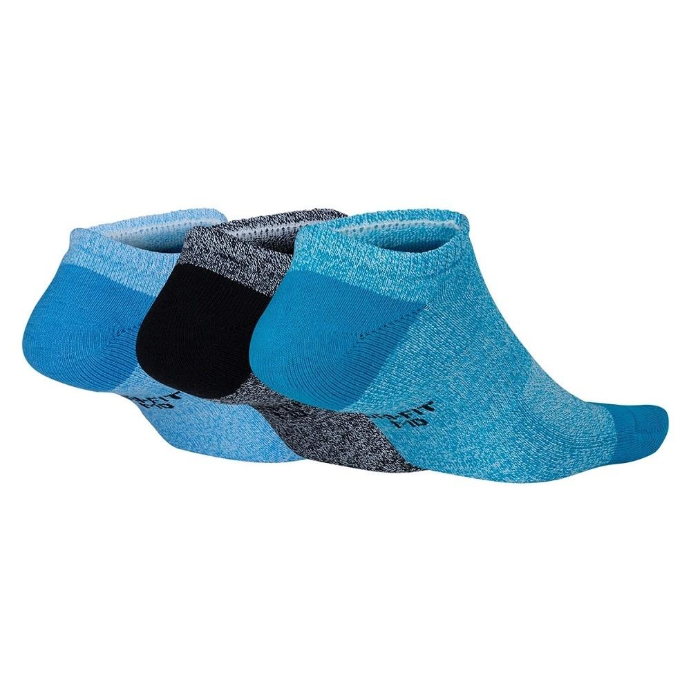 Meia Nike Sem Cano Everyday Cushion Pacote Com 3 Pares - Azul e Preta - Feminina