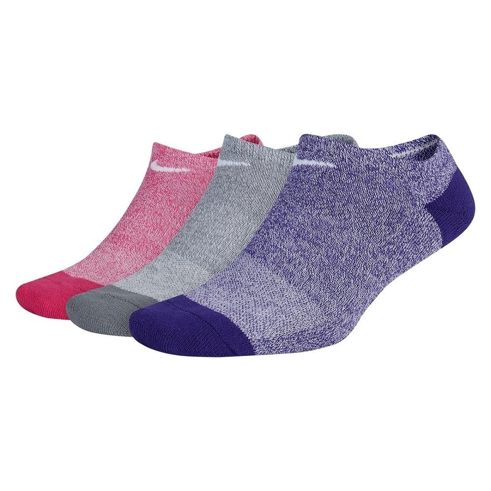Meia Nike Sem Cano Everyday Cushion Pacote Com 3 Pares - Cinza e Roxa - Feminina
