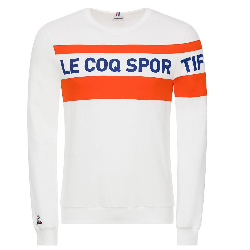 Moletom Le Coq Sportif Essentiels Masculino Branco Laranja