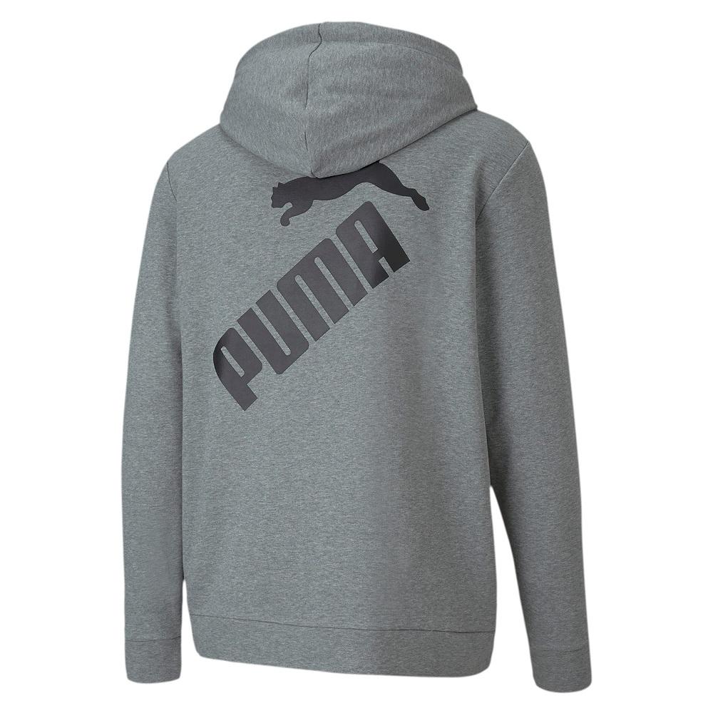 Moletom Puma Capuz Big Logo FZ TR Masculino Cinza